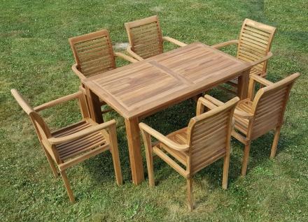 ECHT TEAK Gartenset Bigfoot Tisch 140x80 + 6 Sessel ALPEN Holz