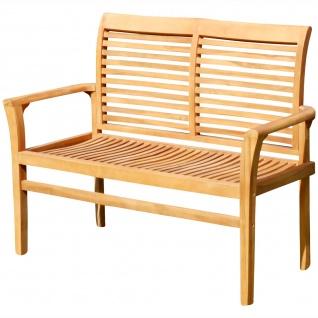 AS-S Teak Design Gartenbank Parkbank Sitzbank 120cm 2-Sitzer Bank Gartenmöbel Holz sehr robust JAV-ALPEN120