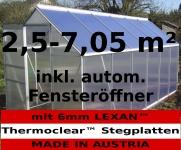2, 5 - 6, 06m² ALU Aluminium Gewächshaus Glashaus Tomatenhaus, 6mm Hohlkammerstegplatten - (Platten MADE IN AUSTRIA/EU) inkl. Fenster mit autom. Fensteröffner