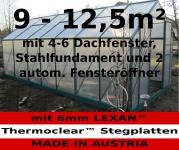 9 - 12m² PROFI ALU Gewächshaus Glashaus Treibhaus inkl. Stahlfundament u. 4(6) Fenster, mit 6mm Hohlkammerstegplatten - (Platten MADE IN AUSTRIA/EU) inkl. 2 autom. Fensteröffner