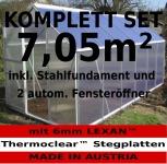 KOMPLETTSET: 2, 5 - 7m² ALU Aluminium Gewächshaus Glashaus Tomatenhaus, 6mm Hohlkammerstegplatten - (Platten MADE IN AUSTRIA/EU) m. Stahlfundament, Fenster mit autom. Fensteröffner