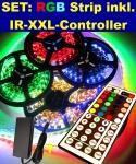 SET: 2, 5mt XXL RGB LED STREIFEN STRIPE STRIP LEISTE RGB 2, 5m inkl. XXL-44Tasten-IR-Controller und Netzteil