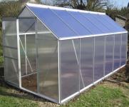 7, 05m² ALU Aluminium Gewächshaus Glashaus Tomatenhaus, 6mm Hohlkammerstegplatten - (Platten MADE IN AUSTRIA/EU) mit Stahlfundament und 2 Fenster