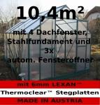 10, 4m² PROFI ALU Gewächshaus Glashaus Treibhaus inkl. Stahlfundament u. 4 Fenster, mit 6mm Hohlkammerstegplatten - (Platten MADE IN AUSTRIA/EU) inkl. 3 autom. Fensteröffner