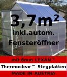 3, 7m² ALU Aluminium Gewächshaus Glashaus Tomatenhaus, 6mm Hohlkammerstegplatten - (Platten MADE IN AUSTRIA/EU) mit 1 Fenster und autom. Fensteröffner
