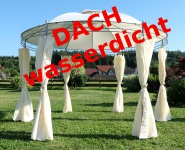 Eleganter Gartenpavillon Pavillon 3, 5 Meter Durchmesser mit Dach 100% wasserdicht UV30+ und 6 Vorhängen Modell: 7073-WP