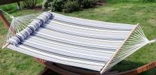 Doppelhängematte 150x200cm gefüttert mit Kopfkissen GRAU gestreift aus Baumwolle