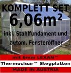 KOMPLETTSET: 6, 06m² ALU Aluminium Gewächshaus Glashaus Tomatenhaus, 6mm Hohlkammerstegplatten - (Platten MADE IN AUSTRIA) m. Stahlfundament, 1 Fenster mit autom. Fensteröffner