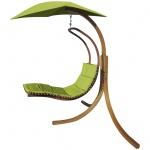 DESIGN Hängeliege NAVASSA-GRÜN mit Gestell aus Holz Lärche komplett mit Hängeliege und Dach