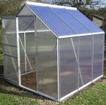 3, 7m² ALU Aluminium Gewächshaus Glashaus Tomatenhaus, 6mm Hohlkammerstegplatten - (Platten MADE IN AUSTRIA/EU) mit 1 Fenster
