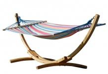 320cm Hängemattengestell BLANCA-CALETA aus Holz Lärche mit Stab Hängematte