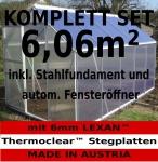 KOMPLETTSET: 6, 06m² ALU Aluminium Gewächshaus Glashaus Tomatenhaus, 6mm Hohlkammerstegplatten - (Platten MADE IN AUSTRIA/EU) m. Stahlfundament, 1 Fenster mit autom. Fensteröffner