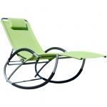 Liegestuhl Schwingstuhl Schaukelstuhl Schaukelliegestuhl mit atmungsaktiven Kunststoffgewebe Rückenlehne verstellbar + Kopfpolster KRETA-GRÜN