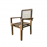 TEAK Design Rattan Sessel Gartensessel Gartenstuhl Sessel Holzsessel Gartenmöbel Holz geölt sehr robust Modell: RIO+A