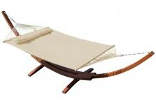 410cm XXL Luxus Hängemattengestell LIMITED EDITION CREME aus Holz Lärche mit Stab Hängematte (EDELSTAHL - GEPOLSTERT)