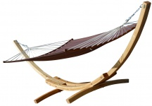 410cm XXL Hängemattengestell NATUR-BENT EDITION BRAUN aus Holz Lärche Hängematte mit ergon. gebogenem Stab