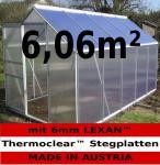 6, 06m² ALU Aluminium Gewächshaus Glashaus Tomatenhaus, 6mm Hohlkammerstegplatten - (Platten MADE IN AUSTRIA/EU) mit 1 Fenster