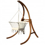 DESIGN Hängesessel mit Gestell aus Holz Lärche Modell: CAT-KAILUA komplett mit Stoffsessel