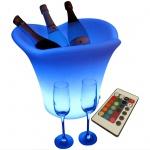 XXL LED beleuchteter RGB Sektkühler Champagnerkühler Weinkühler Flaschenkühler Sektkübel 42cm mit Fernbedienung