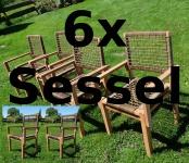 6Stück TEAK - Poly Rattan Gartensessel RIO-A