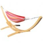 410cm XXL Hängemattengestell NATUR-MONA aus Holz Lärche mit Hängematte bunt