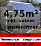4, 75m² ALU Aluminium Gewächshaus Glashaus Tomatenhaus, 6mm Hohlkammerstegplatten - (Platten MADE IN AUSTRIA/EU) inkl. Fenster mit autom. Fensteröffner