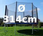 Outdoor Gartentrampolin Trampolin XL - 314cm komplett inkl. Sicherheitsnetz und Leiter TÜV geprüft
