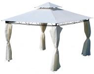 Eleganter Garten - Pavillon 3x3 Meter, Dach 100% WASSERDICHT UV30+, 9m², mit 4 Vorhängen quadratisch Modell: 7075-3x3