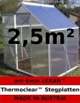 2, 5m² ALU Aluminium Gewächshaus Glashaus Tomatenhaus, 6mm Hohlkammerstegplatten - (Platten MADE IN AUSTRIA/EU) mit 1 Fenster