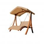 Design Hollywoodliege Doppelliege ARUBA-BRAUN aus Holz Lärche mit Dach