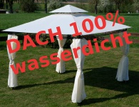 Eleganter Gartenpavillon Pavillon 3x3 Meter, Dach 100% wasserdicht UV30+, mit 4 Vorhängen Modell: 7075-3x3