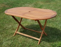 klappbarer Gartentisch oval 150x85cm BARBADOS aus Eukalyptus wie Teak