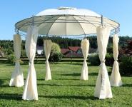 Eleganter Gartenpavillon Pavillon 3, 5 Meter Durchmesser rund mit Dach 100% wasserdicht UV30+ und 6 Vorhängen MARSEILLE