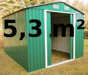 Gartenhaus Geräteschuppen 5, 3m² 2, 5x2m 2, 57x2, 05m aus verzinktem Stahlblech Metall grün