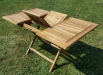TEAK Ausziehtisch 100-140 x 80cm klappbar Holztisch Gartentisch Tisch aus Teakholz AVES