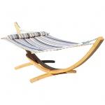 410cm XXL Hängemattengestell NATUR-FILLED EDITION GRAU aus Holz Lärche mit Stab Hängematte (GEPOLSTERT) und Kissen