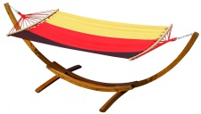 320cm Hängemattengestell DE aus Holz Lärche mit Stabhängematte mit deutscher Flagge