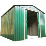 Geräteschuppen 2, 57x2, 05m Gartenhaus Stahlblech verzinkt Metall grün