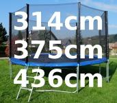 Outdoor Gartentrampolin Trampolin XL - 314 - 375 - 436 cm komplett inkl. Sicherheitsnetz und Leiter TÜV geprüft
