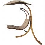 DESIGN Hängeliege NAVASSA mit Gestell aus Holz Lärche komplett mit Hängeliege und Dach