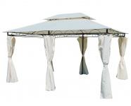Eleganter Gartenpavillon Pavillon 3x4 Meter, 12m², Dach 100% wasserdicht UV30+, mit 6 Vorhängen, rechteckig Modell: ELBA 3x4