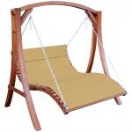 Design Hollywoodliege Hollywoodschaukel ARUBA-OD aus Holz Lärche ohne Dach BRAUN