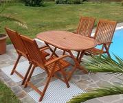 Gartengarnitur Tisch 150x85 cm + 4 Hochlehner 7-fach verstellbar LIMA Eukalyptus Hartholz wie Teak