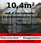 Komplettset: 10, 4m² PROFI ALU Gewächshaus Glashaus Treibhaus inkl. Stahlfundament u. 4 Fenster, mit 6mm Hohlkammerstegplatten - (Platten MADE IN AUSTRIA/EU) inkl. 4 autom. Fensteröffner