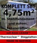KOMPLETTSET: 4, 75m² ALU Aluminium Gewächshaus Glashaus Tomatenhaus, 6mm Hohlkammerstegplatten - (Platten MADE IN AUSTRIA/EU) m. Stahlfundament, 1 Fenster mit autom. Fensteröffner