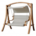 Design Hollywoodschaukel ANTIGUA-BEIGE aus Holz Lärche