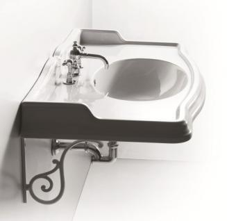 Waschbecken mi Konsole, Einloch, für Dreilocharmatur vorgesehen, ohne Armaturen. - Vorschau 1