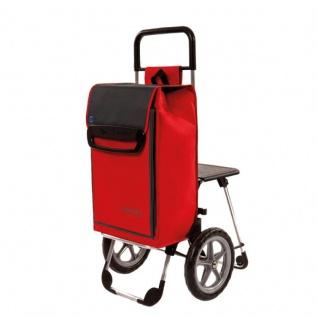 Einkaufshilfe mit ausklappbarem Sitz und Kühlfach Trolley rot-schwarz Sani-Alt