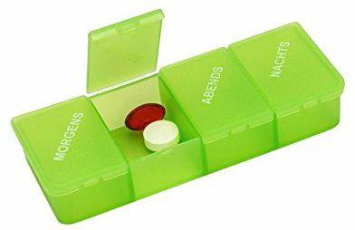 Tablettendose 4 Fächer grün-transparent