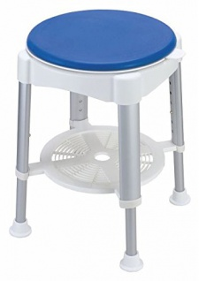 Duschhocker mit gepolstertem Sitz 360° drehbar und Ablage weiß/blau Sani- Alt